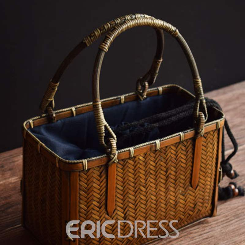 Ericdress Plain Knitted Rectangle Tote Bags