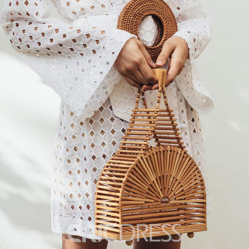 Ericdress Plain Knitted Tote Bamboo Bags