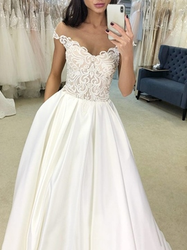 Ericdress Appliques Sheer Neck Wedding Dress