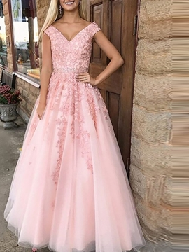 Floor-Length V-Neck Applique A-Line Evening Dress