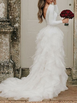 Cascading Ruffles Jewel Long Sleeves Wedding Dress