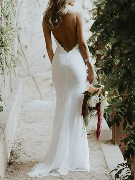 Ericdress Backless Lace Mermaid Beach Wedding Dress