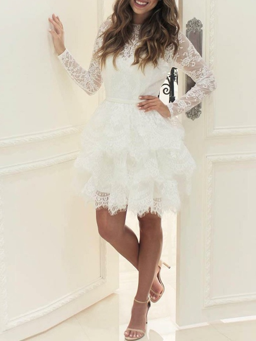 Ericdress Long Sleeves Tiered Lace Beach Wedding Dress