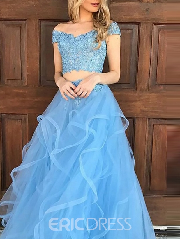Ericdress A-Line Two Pieces Off-The-Shoulder Prom Dress