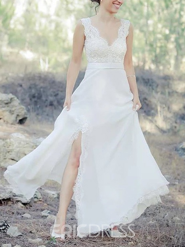 Ericdress Floor-Length A-Line V-Neck Sleeveless Beach Wedding Dress