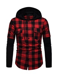 Ericdress Patchwork Color Block Plaid Hooded Mens Casual Shirt фото