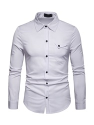 Ericdress Plain Lapel Button Up Slim Mens Shirt фото