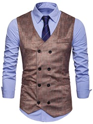 Ericdress Plaid Double-Breasted Mens Waistcoat фото