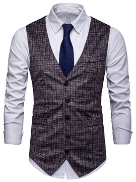 Ericdress Plaid Single Breasted Mens OL Casaul Waistcoat