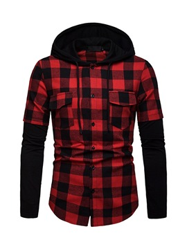 Ericdress Patchwork Color Block Plaid Hooded Mens Casual Shirt