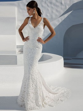 Ericdress Sleeveless V-Neck Floor-Length Lace White Dress