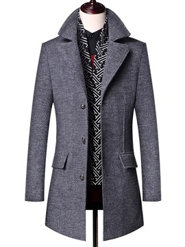 Ericdress Plain Mid-Length Single-Breasted Mens Slim Wool Coat