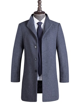 Ericdress Plain Mid-Length Single-Breasted Mens Wool Coat