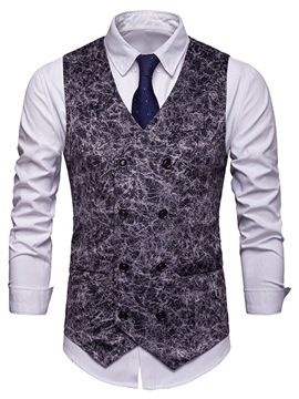 Ericdress Printed Double-Breasted Vintage Style Mens Waistcoat