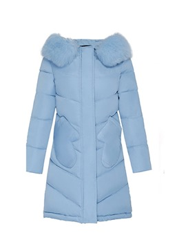 Ericdress Thick Zipper Straight Mid-Length Cotton Padded Jacket
