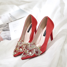Ericdress Pointed Toe Rhinestone Stiletto Heel Wedding Shoes