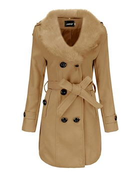 Ericdress Slim Flocking Regular Winter Lapel Overcoat