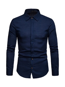 Ericdress Plain Lapel Single-Breasted Mens Linen Shirt