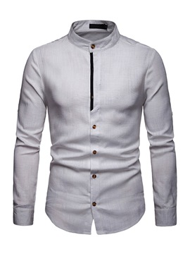 Ericdress Patchwork Color Block Stand Collar Mens Casual Shirt