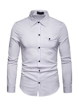 Ericdress Plain Lapel Button Up Slim Mens Shirt