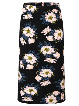 Ericdress Plus Size Bodycon Floral High Waist Mid-Calf Skirt