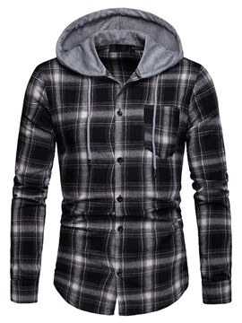Ericdress Plaid Patchwork Hooded Mens Casual Shirt