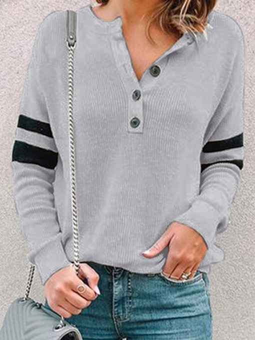 Ericdress Plain Regular Button Fall Long Sleeve Hoodie