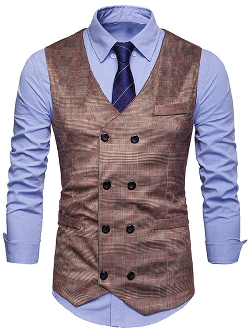 Ericdress Plaid Double-Breasted Mens Waistcoat