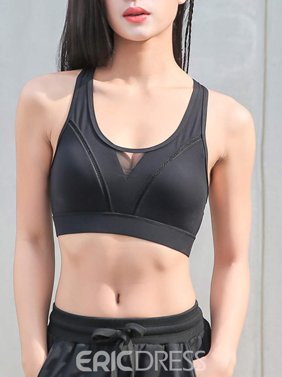 Ericdress Mesh Patchwork Shockproof Free Wire Sports Bras
