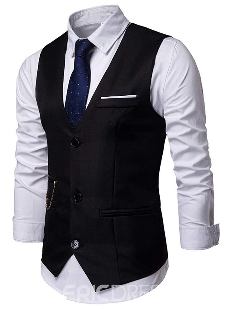 ericdress gilet mens ol simple boutonnage uni