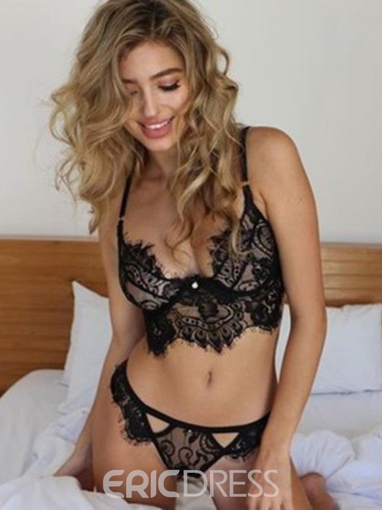 Ericdress Lace Three-Point Floral Lace Sexy Bra Sets