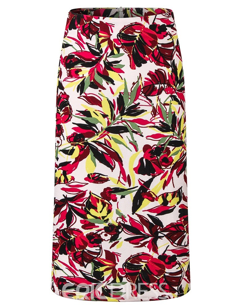Ericdress Plus Size Bodycon Print High Waist Mid-Calf Skirt