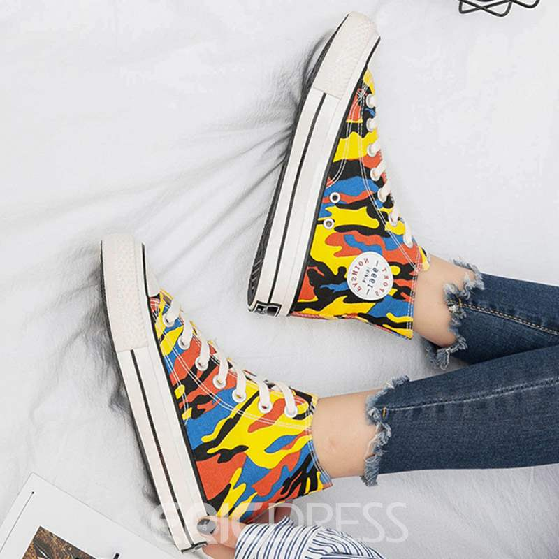 Ericdress Camouflage Round Toe Lace-Up Women's Flats