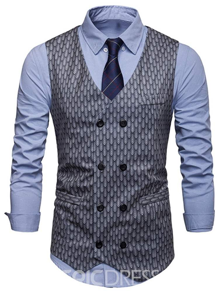 Ericdress Printed Double Breasted Mens OL Waistcoat