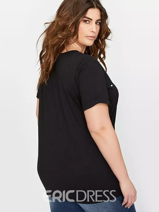 Ericdress Patchwork Bead Plus Size Summer T-Shirt