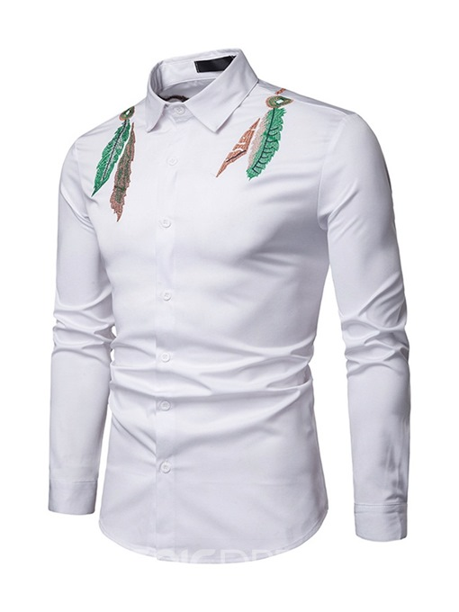 Ericdress Embroidery Lapel Button Up Mens Casual Shirt