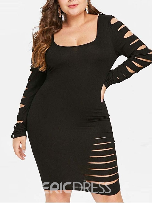 Ericdress Plus Size Hole Long Sleeve Above Knee Plain Bodycon Dress