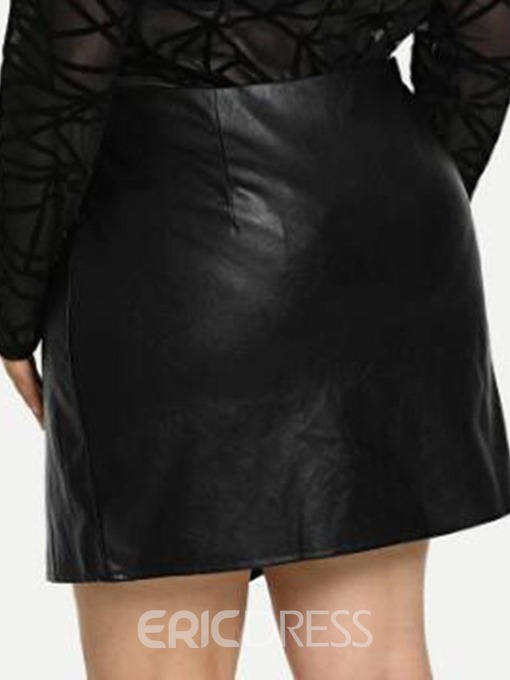 Ericdress Plus Size Asymmetric Bodycon Plain High Waist Skirt