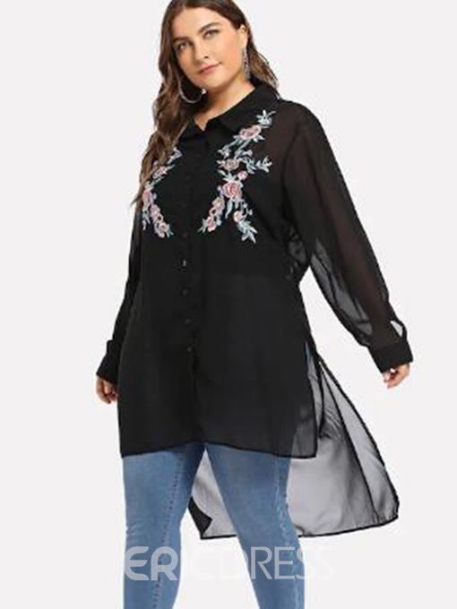 Ericdress Floral See-Through Long Plus Size Blouse