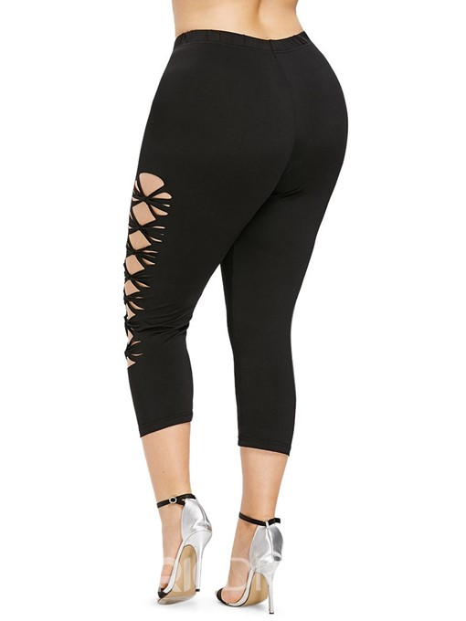 Ericdress Plus Size Hollow Plain Casual High Waist Leggings