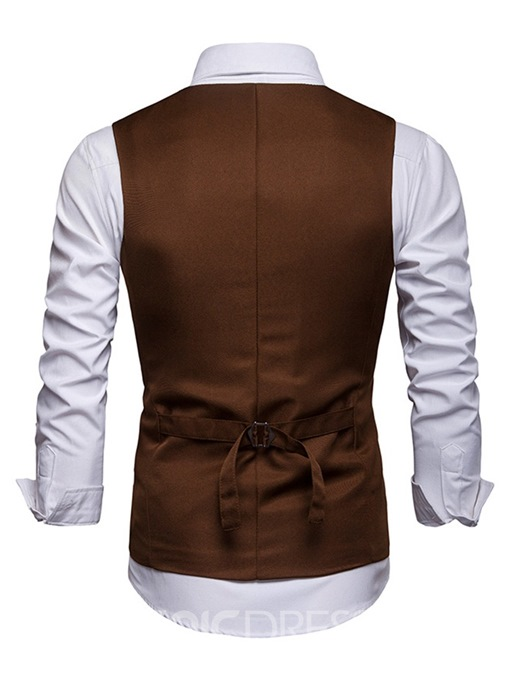 Ericdress Plain Single-Breasted Mens Casual Waistcoat