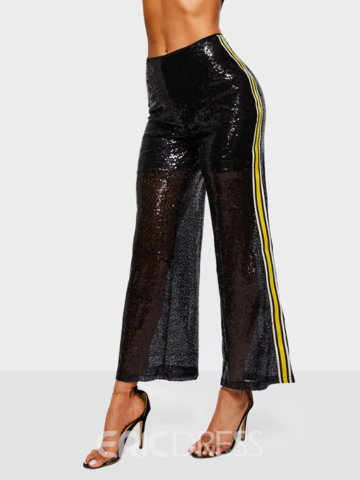 Ericdress See-Through Color Block Sequins Loose Wide Legs Women's Pants