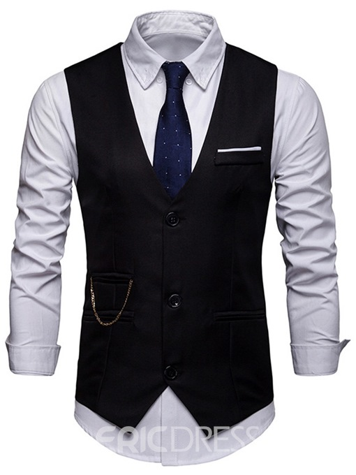 Ericdress Plain Single-Breasted Mens OL Waistcoat