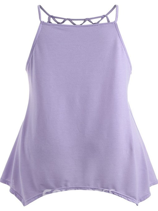 Ericdress Asymmetric Hollow Plus Size Summer Tank Top