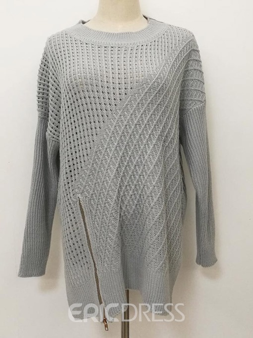 Ericdress Zipper Regular Long Sleeve Loose Sweater