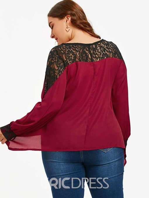 Ericdress Asymmetric Lace Round Neck Plus Size Blouse