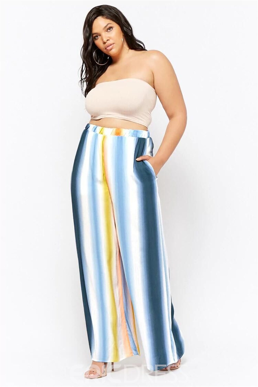 Ericdress Plus Size Loose Stripe Color Block High Waist Casual Pants