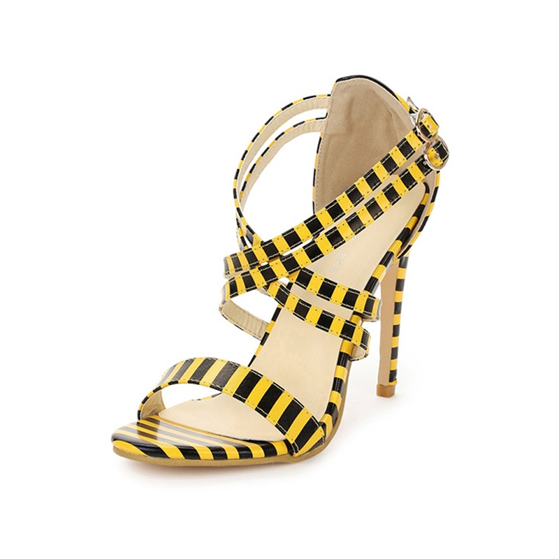 Ericdress Stripe Stiletto Heel Cross Strap Women's Sandals