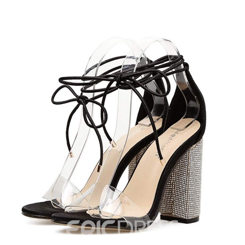 Ericdress Rhinestone Chunky Heel Lace-Up Women's Sandals