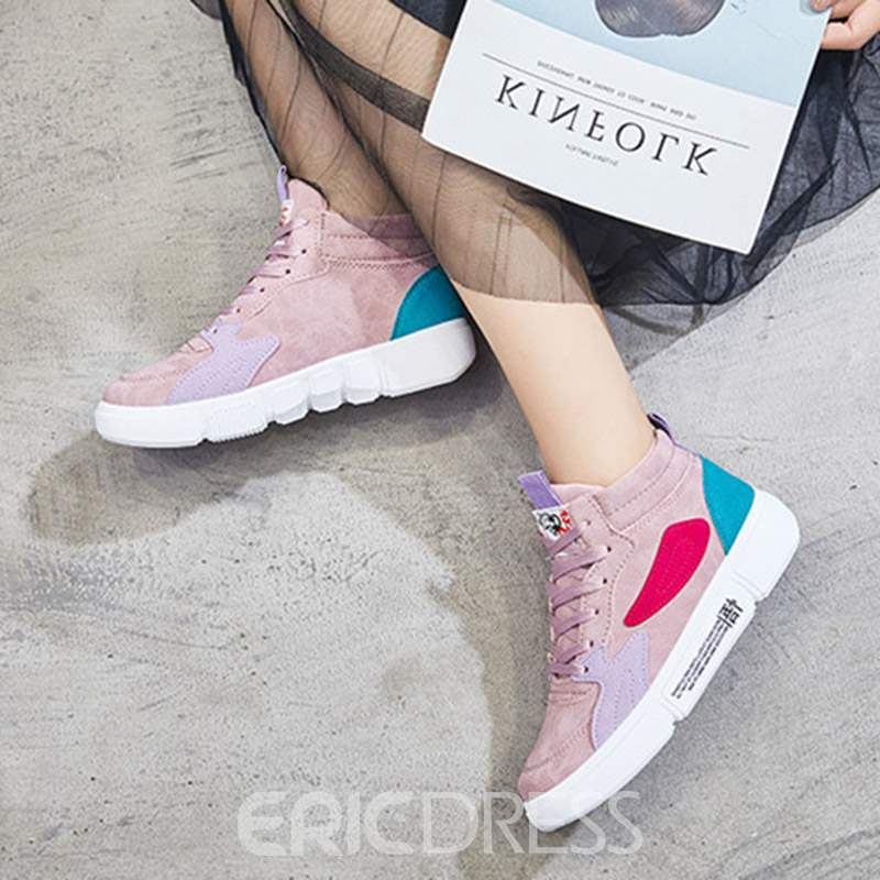 Ericdress Mid-Cut Upper Round Toe Lace-Up Women's Sneakers